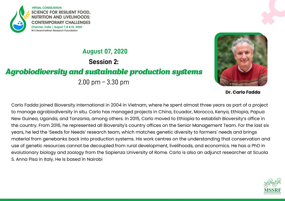 Coming up during #MSSRF2020 Carlo Fadda, Director @BiovIntCIAT_eng @c_fadda speaking on 7th August - 2 pm IST. #SaveTheDate pic.twitter.com/gKWxBXgjvH