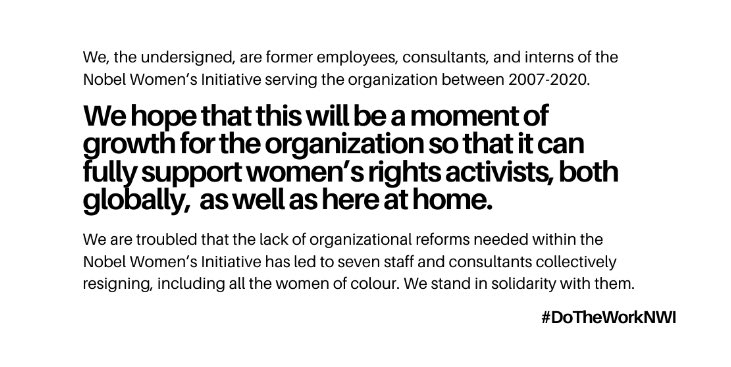I had the pleasure to work with the brave women who resigned from NWI. Together we tried to promote positive change until my contract was cut short. I am grateful for the collective support and empowerment we found in each other! Read our statement: http://bit.ly/NWIAlumniSolidarity…pic.twitter.com/oQ96ezl7on