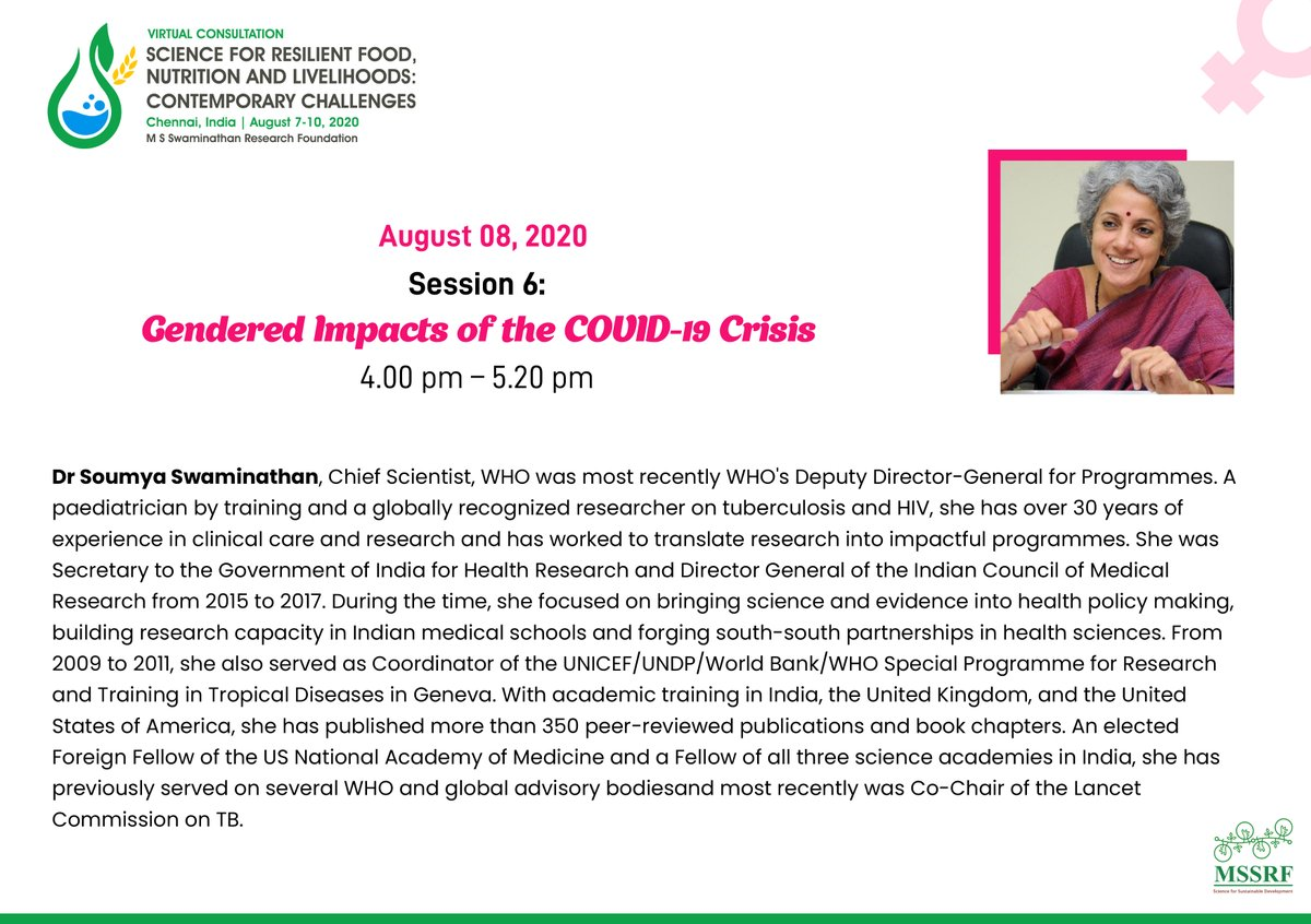 """Looking forward to hear insights from Dr Soumya Swaminathan, Chief Scientist @WHO @doctorsoumya on the 'Broader Health Impacts of #COVID19"""" #SaveTheDate Aug 8, 4 pm IST at #MSSRF2020pic.twitter.com/L0iPiNuS0u"""