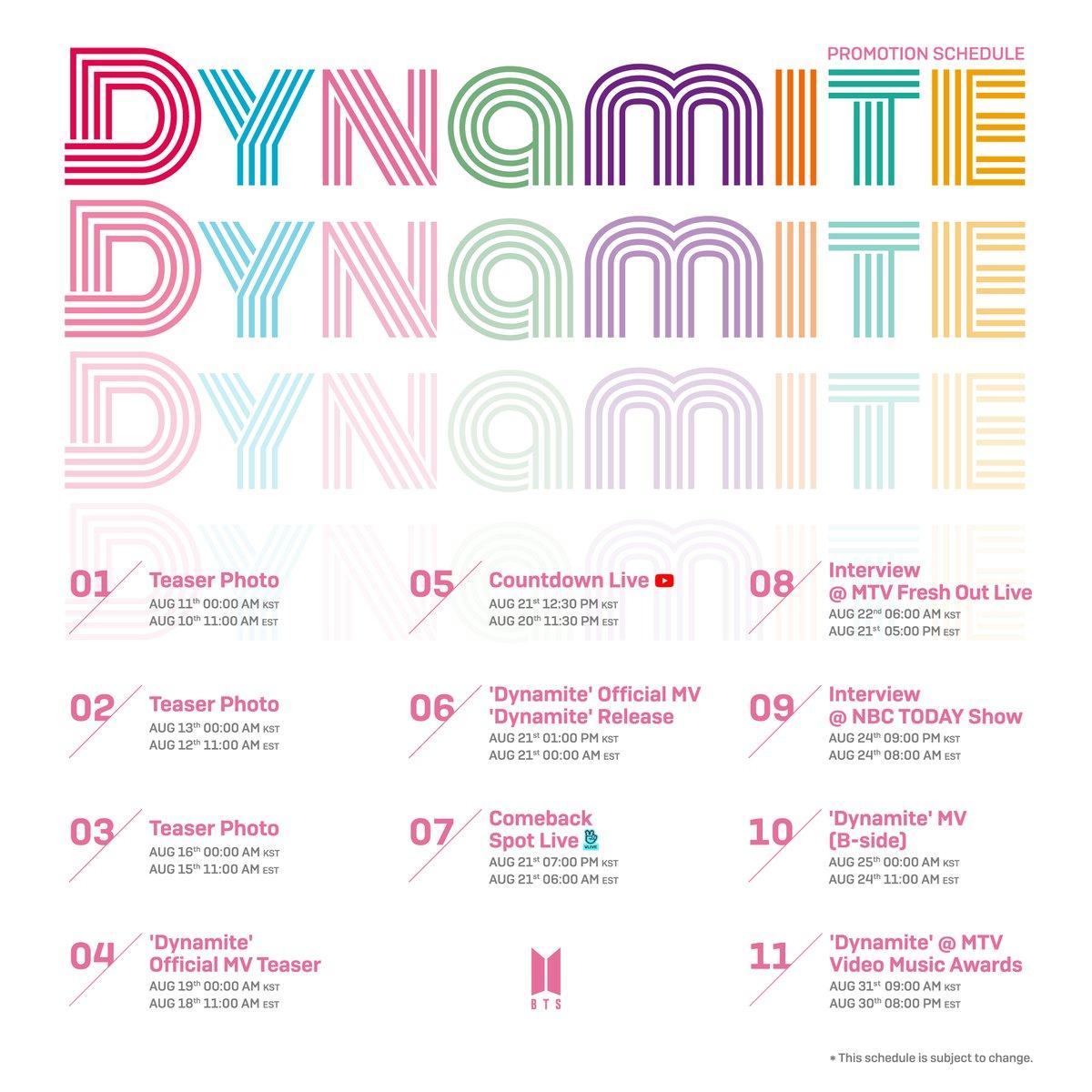 #BTS #방탄소년단 Dynamite Promotion Schedule  #BTS_Dynamite https://t.co/XhdUMnktwY