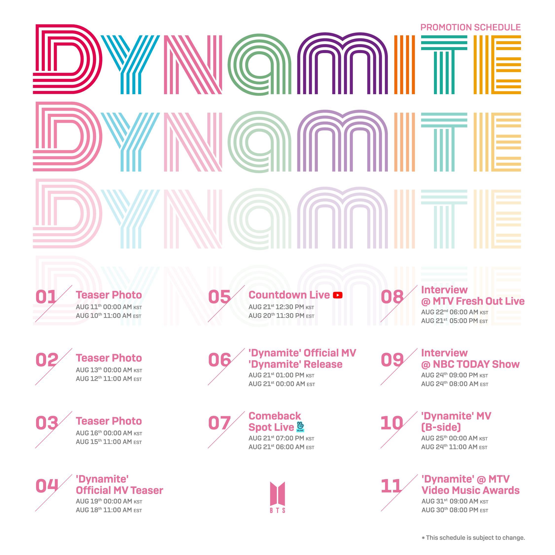 BTS- Dynamite Schedule