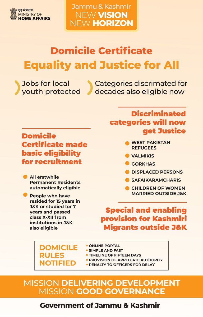 #OneYearofDevelopment in #JammuAndKashmir  #DomicileLaw implemented to protect people's interest, #DomicileCertificate made basic eligibility condition for Govt Rec; All erstwhile PRC holders automatically eligible for Certificate; Hitherto discriminated categories also included https://t.co/oBIy8Povel