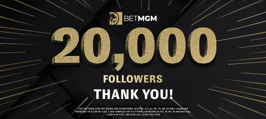 Thank you for following! 🤝   We want to thank all 20,000 of our loyal followers with a $20,000 giveaway!  100 random winners will receive $200 paid in free bets 🚨   Simply: 1️⃣ Follow @BetMGM 2️⃣ Retweet this tweet  - Rules: