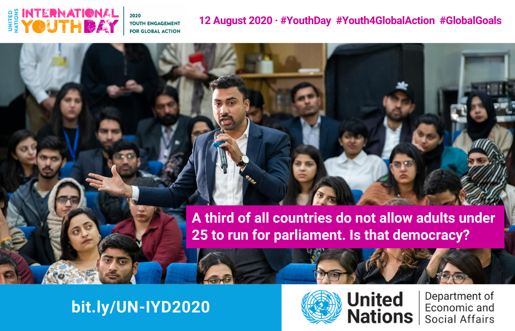 How to bring young people into politics: Youth quotas 📋 Lower eligibility ages 👪 Proportional representation 👐 Inclusive parliaments. 🙌  With one week to go before #YouthDay, find out more about #Youth4GlobalAction HERE: https://t.co/RmnO0ugg9J https://t.co/rtu6HkhQwa