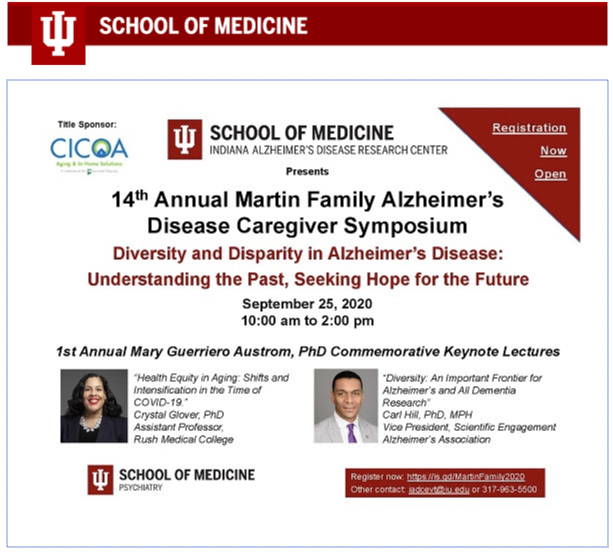Don't miss #IU #ADRC's #AD #Caregiver Symposium on #Diversity & #Disparities w/ awesome #KeynoteSpeakers: @hillcv17 & @CGster!   *09/25/20 @ 10am - 2pm*  #BrainHealthEquity @andrealgilmore @ISTAART @ytquiroz @gmbreads @UsA2_Latinos @HeatherAlz @ALZNYCC1   https://t.co/c7BAV00pt0 https://t.co/QHawvRwOcI