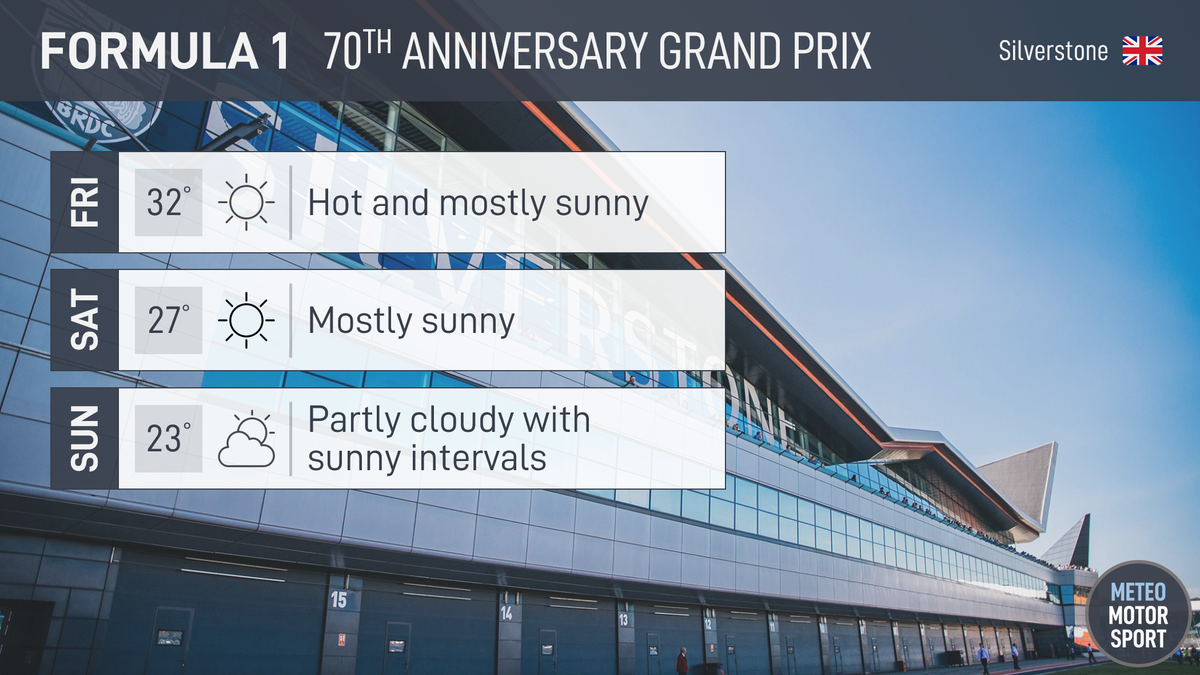 F1 celebrates its 70th year with a special anniversary race at @SilverstoneUK this weekend.  WEEKEND WEATHER OUTLOOK: Mostly sunny and dry. Wind direction is forecast to be changeable (from the S on Fri, N on Sat, ENE on Sun) and gusty at times.  #F1 | #F170 🏁 https://t.co/oalDZgI5en
