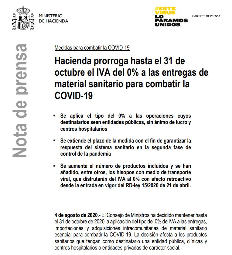 🗣️ Hacienda prorroga hasta el 31 de octubre el #IVA del 0% a las entregas de material sanitario para combatir la #COVID_19, con el fin de garantizar la respuesta sanitaria en la segunda fase de control de la pandemia.  Más información 👉https://t.co/YFx3qpIrUZ https://t.co/B8BJLJjhZs