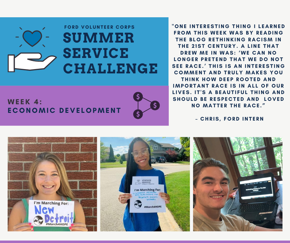 Participating #FordInterns worked with @fordfund_  to learn about economic mobility and some Marched for HOPE through the nonprofit @Focus_HOPE. This Michigan nonprofit focuses on workforce development to overcome racism, poverty and injustice. #fordgivesback #fordemployees. https://t.co/oU6Qodl6ph