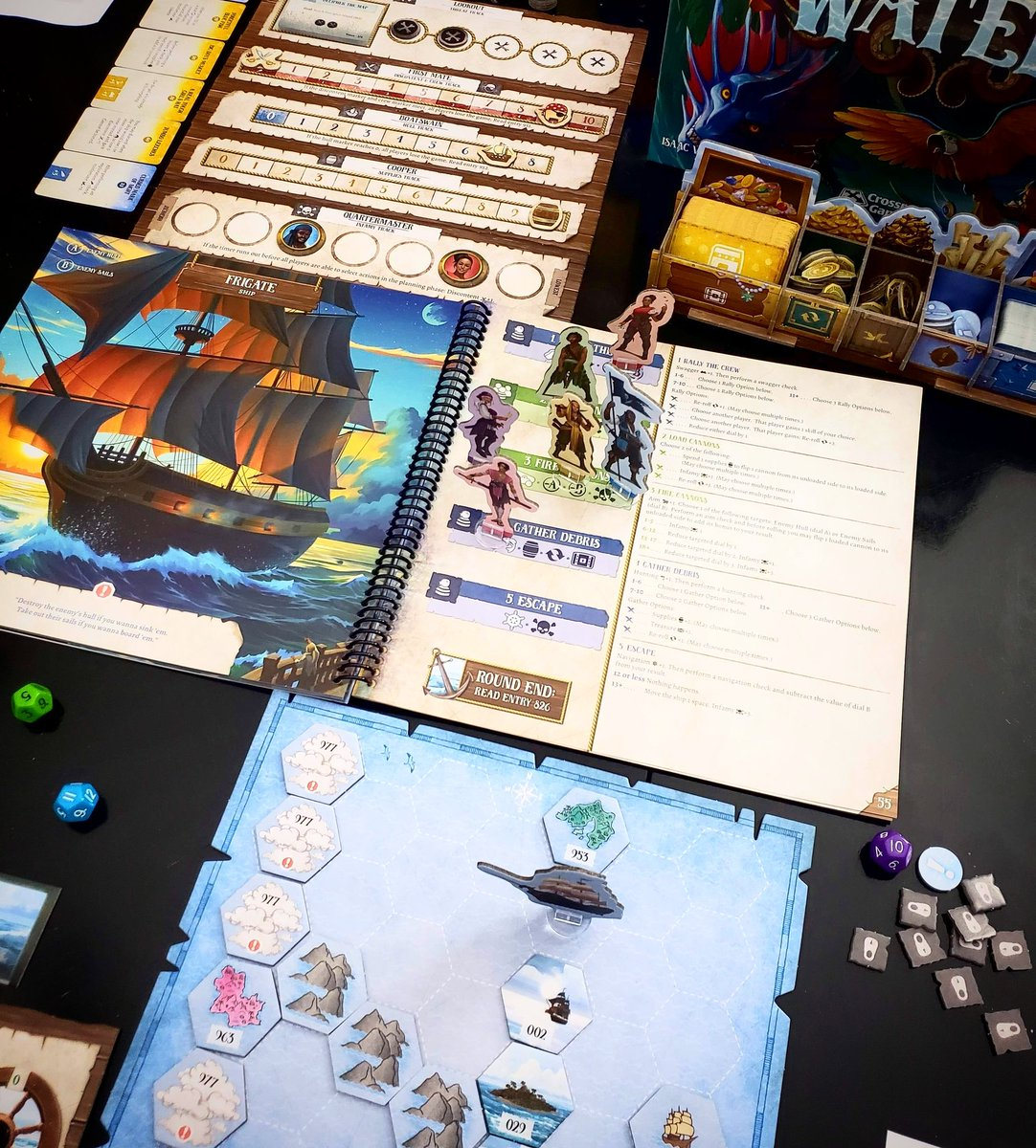 Epic game of Forgotten Waters! Really innovative new game from @PlaidHatGames with the added awesomeness of being a pirate game! Amazing artwork to top it off. Check it out! (I played the 2p variant) - Steph @BoardGamerSteph #bgg #plaidhatgames #newgames #forgottenwaterspic.twitter.com/zi4dOGwwd5
