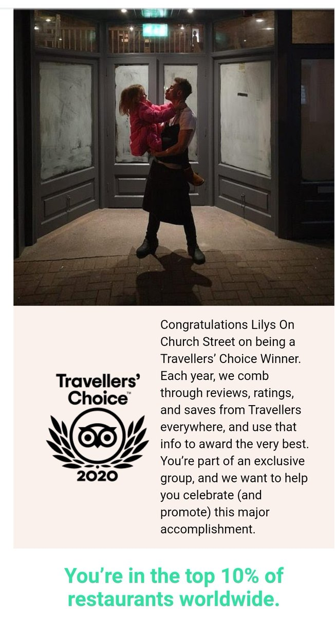 Absolutely delighted to win such an amazing award from TripAdvisor and also some incredible reviews too #LetUsLookAfterYou #DraíochtAtLilys #Somethingnew #FineDining #FineWines #WicklowFood #RealFoodByRealChefspic.twitter.com/iiQrgSxUzQ
