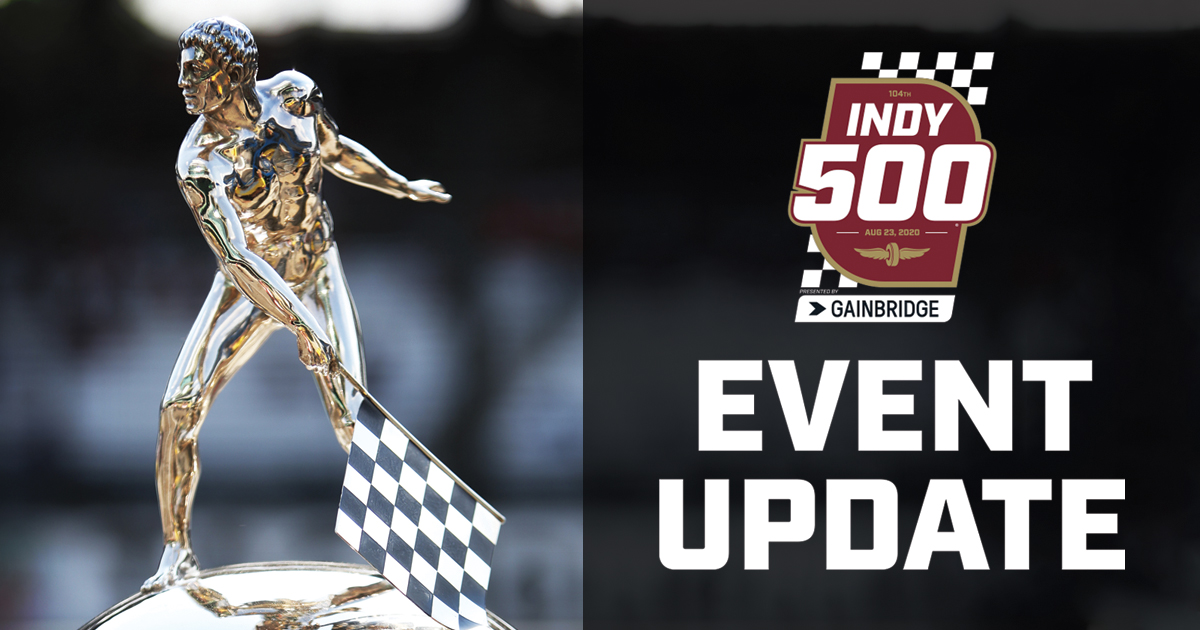 News from #IMS:  It is with great regret that we announce the Indianapolis 500 will take place on August 23 without fans. This tough decision was made following careful consideration and extensive consultation with state and city leadership.  Full Details: https://t.co/mlC19YG6Ng https://t.co/YryckwCjJ1