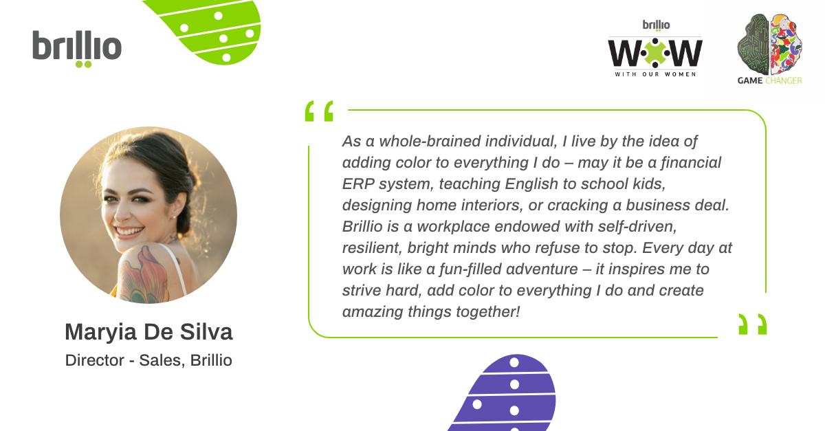 #Brilian #GameChanger Maryia De Silva shares her philosophy on adding color to everything she does – from being a businesswoman, an English teacher & an interior designer!   #brillio #lifeatbrillio #beabrillian #growwithbrillio  #womenleader #withourwomen #brilliowowpic.twitter.com/3wgdaPaYZd