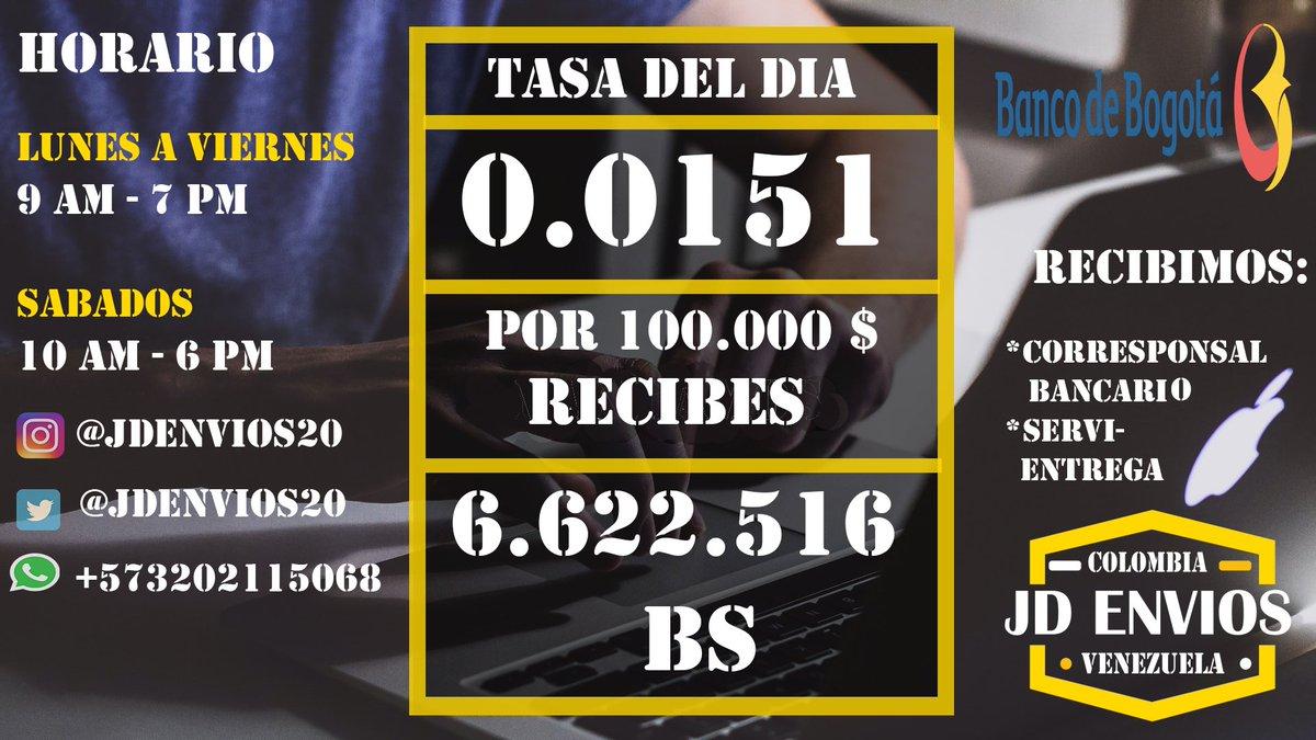 Tasa actualizada 4 de julio  Recibimos desde :  *Banco de Bogota                                                       Enviamos para :                                                                  *Todos los bancos en Venezuela                                      *Pago movil https://t.co/ungjzQK86s