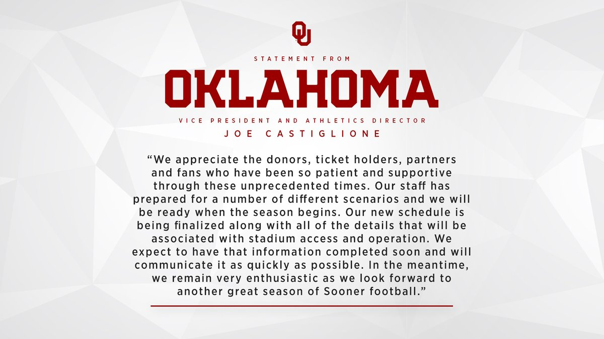 Statement from @soonerad: https://t.co/a4Zz1S9YMG