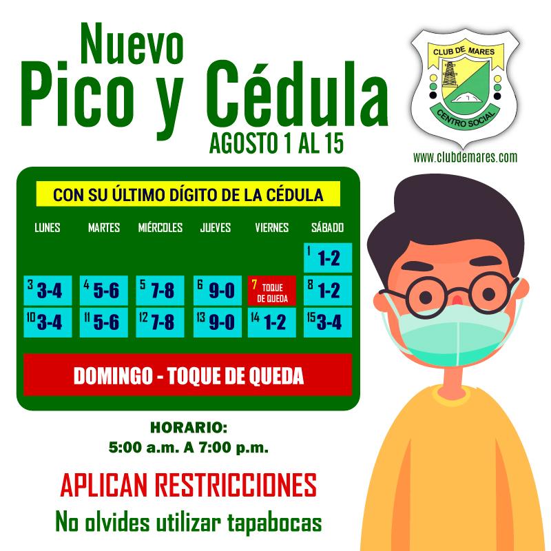 ACTUALIZACIÓN  #PicoYCédula  AGOSTO; para la compra de víveres, alimentos, pago de servicios públicos y bancarios. #ClubDeMares #QuédateEnCasa #EvitaContagio. https://t.co/h7HRgVnIt5