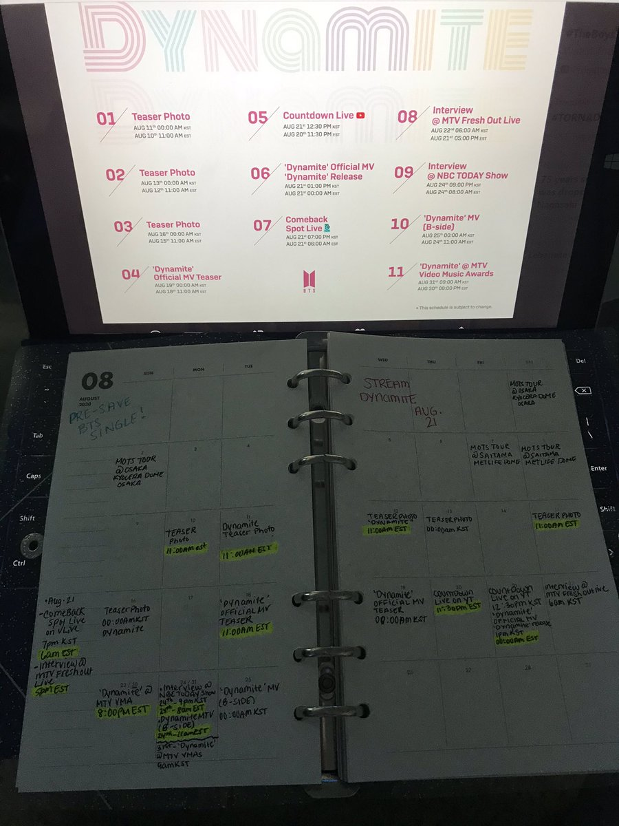 I wrote the promotion schedule on my army planner to be updated for this comeback. @BTS_twt #MTVHottest BTS  Pre-save the single ->http://bts-082120.compic.twitter.com/SWLXUVYK0b