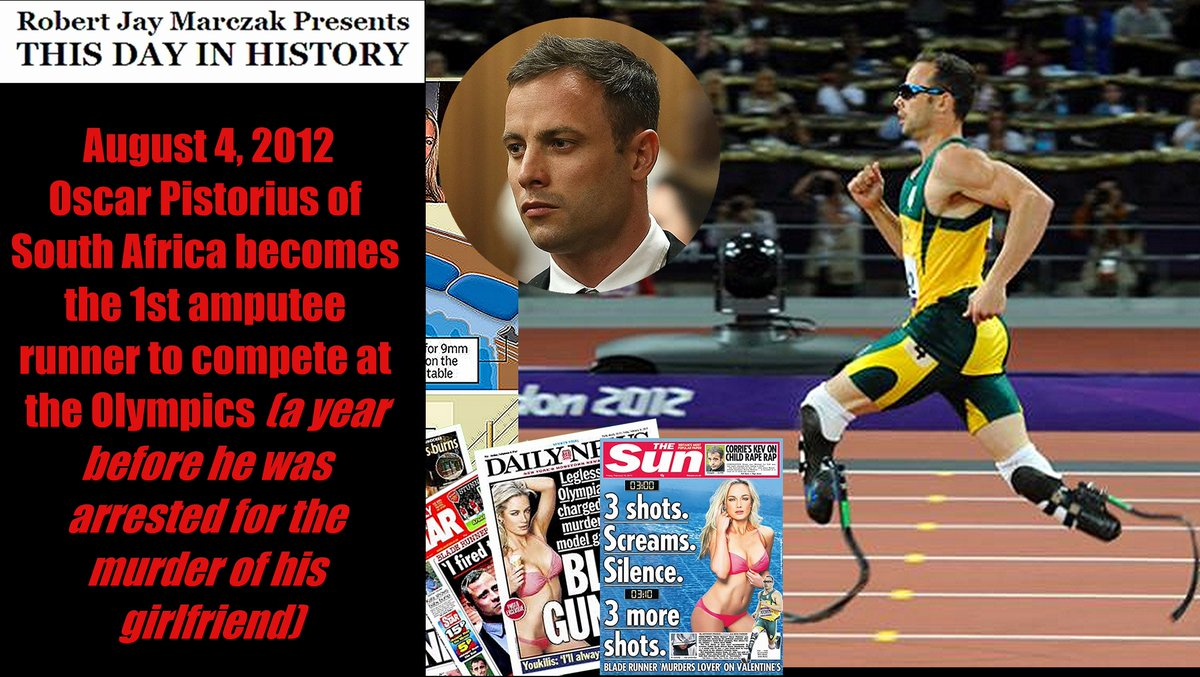 August 4, 2012 Oscar Pistorius of South Africa becomes the 1st amputee runner to compete at the Olympics (a year before he was arrested for the murder of his girlfriend)  #rjm #amputee #murder #Olympics #OscarPistorius #ReevaSteenkamp #SouthAfrica  Link: https://t.co/QJy3PlUvMa https://t.co/GFCxmnfvpg
