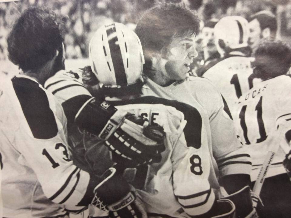Maybe the greatest Stingers game of all time was a thrilling 2-1 win over Houston before 14k at Riverfront Coliseum on March 20, 1976. Dave Inkpen blasted home the game-winner late in the game. He is shown here celebrating the dramatic goal with Claude Larose and Pierre Guite.