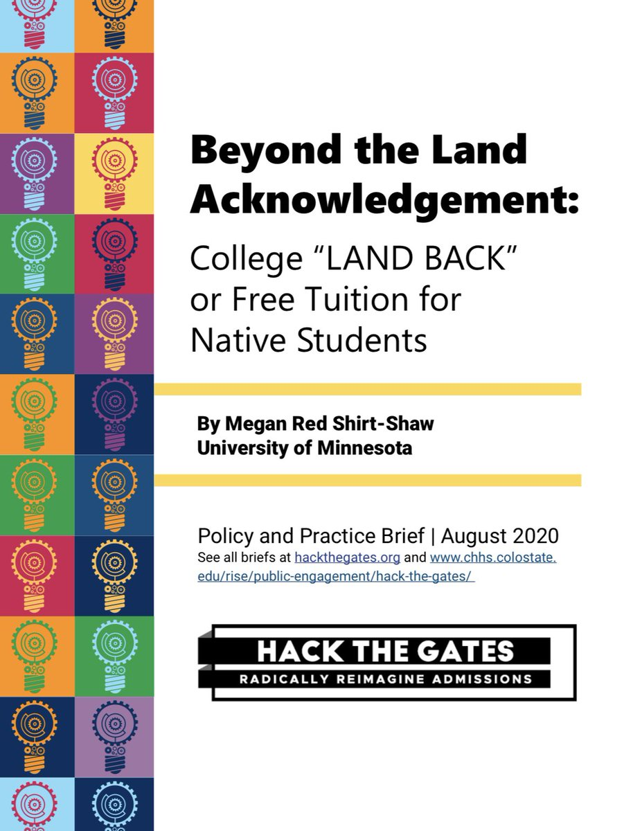 "My policy brief ""Beyond the Land Acknowledgement: College 'LAND BACK' or Free Tuition for Native Students"" with @AcceptGroup & @ColoStateRISE is live.  You can read it and all the fantastic policy briefs at https://t.co/3Ql0fOCbZ3 https://t.co/jqbBqg4K4o"