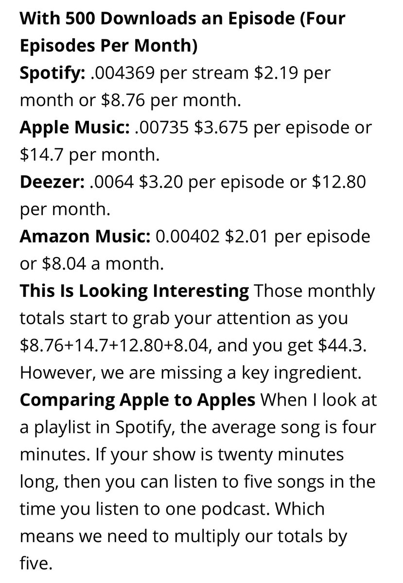 """@DaveJackson is a genius.  """"What if podcasters got paid like musicians?""""  Full article: https://podcastbusinessjournal.com/what-if-podcasters-got-paid-like-musicians/…pic.twitter.com/SsV36iyRJJ"""