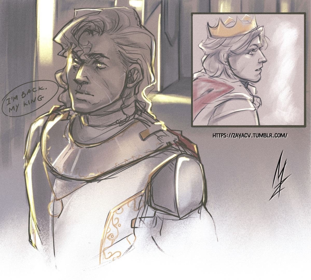 """King and his loyal Knight.  Small sketch for Patreon (actually it's kind of """"before"""" for the monthly nsfw sketch XD) #artbyzayac #harringrove #steveharrington #billyhargrove pic.twitter.com/XHsKXIHIzR"""