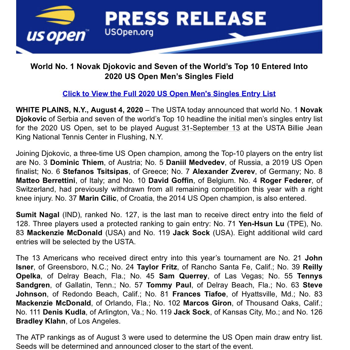 Rafael Nadal will not be defending his US Open title.   The USTA have not even mentioned him on their press release. Federer got a mention ... https://t.co/MSkVUqTOYD
