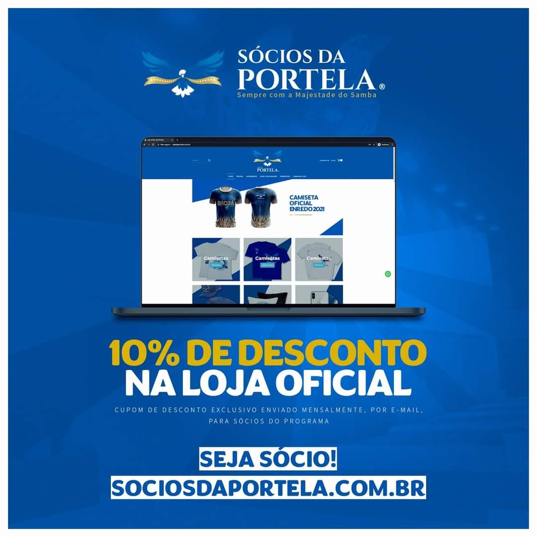 Quem é Sócio da Portela pode garantir produtos com 10% de desconto, na loja oficial da escola, utilizando o cupom exclusivo enviado mensalmente por e-mail. ⠀ Seja sócio e aproveite:  👉🏽 https://t.co/d1rXwCN9sM https://t.co/jASTZSPLIa