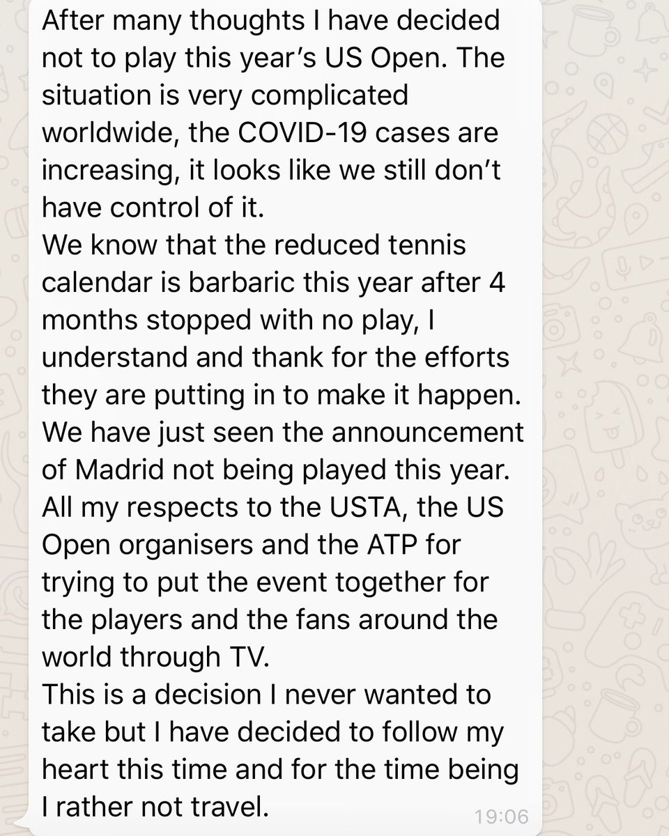 Rafael Nadal says he has decided to 'follow his heart' in not playing the US Open.   'The COVID-19 cases are increasing, it looks like we still don't have control of it'.   Describes the reduced calendar as 'barbaric'. https://t.co/I5uW2o3FYU