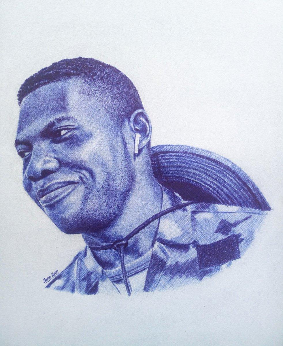 Portrait drawing. Pen on paper. . Please retweet this. 💙 . #jane_ugah #WeAreNigerianCreatives #ArtistOnTwitter #ballpointpen