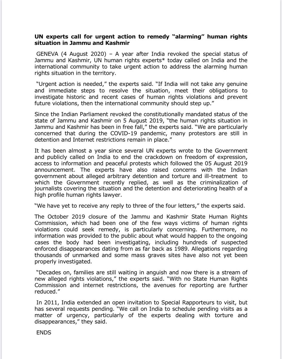 In a joint press release, today 10 UN independent human rights experts called on India &intl. community for urgent action to address the alarming human rights situation in #IIOJK.  #OneYearSiege #KashmirSeigeDay #YOUM_E_ISTEHSAL #5thAugustBlackDay  Full text of Press Release: https://t.co/7EY9P5j3Os