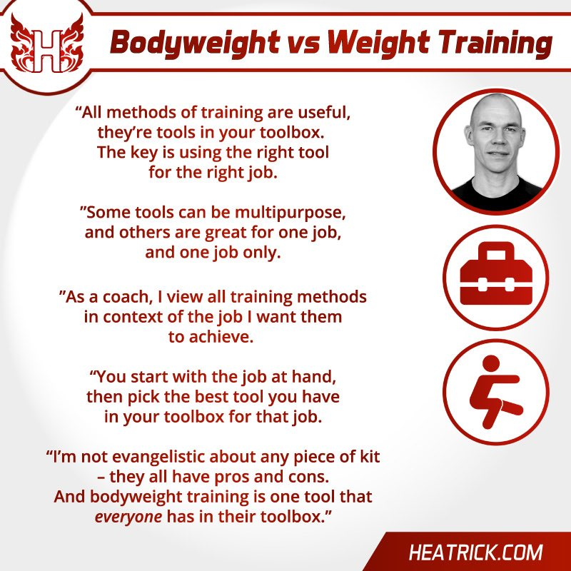 Bodyweight vs Weight Training   https://heatrick.com/2020/08/02/bodyweight-training-for-fighters-how-to-do-it-properly-what-you-should-shouldnt-do/ …  #muaythai #muaythaitraining #bodyweight #bodyweightworkout #bodyweightexercises #guidepic.twitter.com/yRufyPY5kk