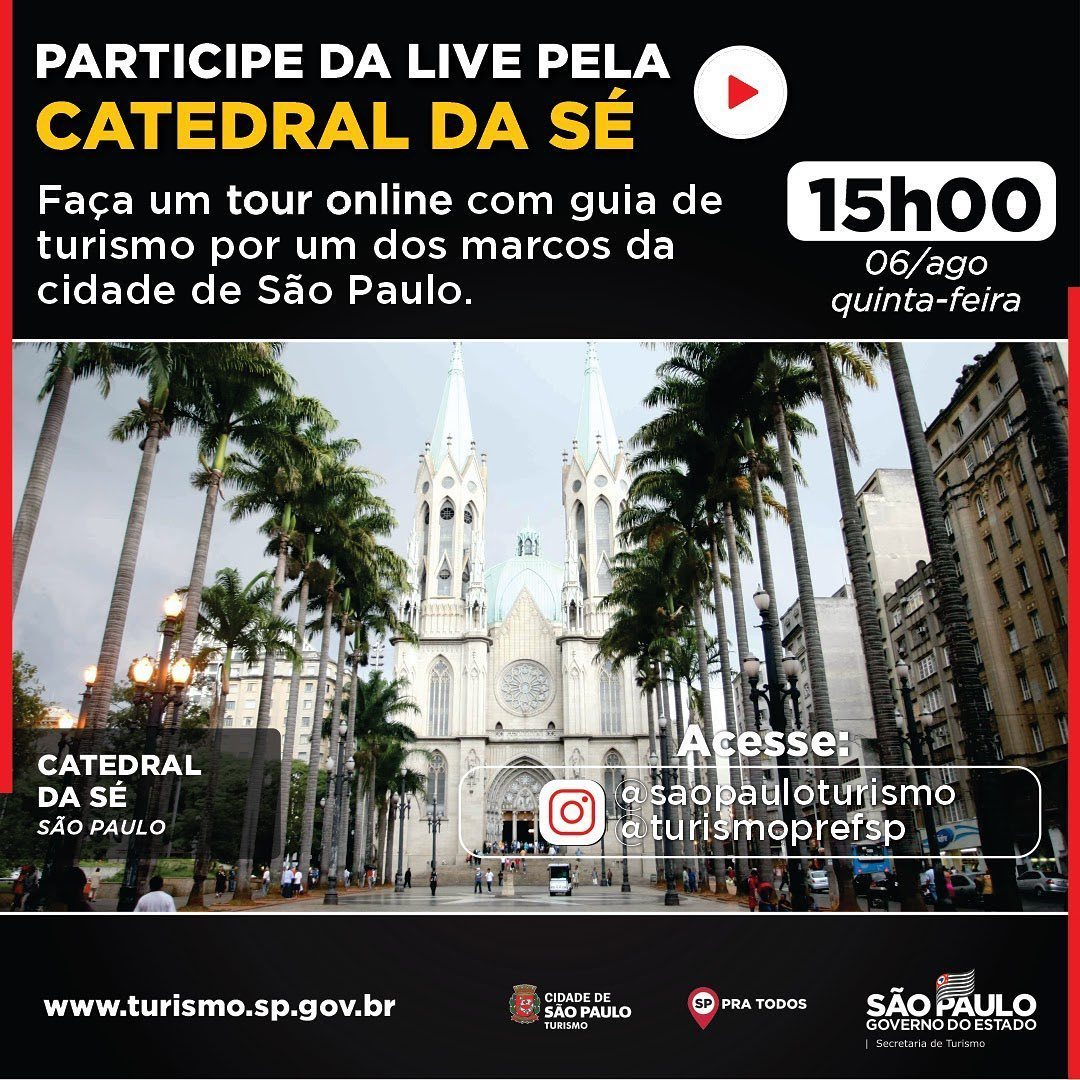 Quinta-feira (6) é dia de tour virtual!  Nosso destino essa semana é a @CatedraldaSeSP  Acompanhe no perfil São Paulo Turismo no Instagram: https://t.co/HFprTRXxKi  #saopaulo #sppratodos #turismo #mtur #visitbrasil #brazil #turismo #tourism #placestovisit #catedraldase #live https://t.co/s5qHRUxeTp