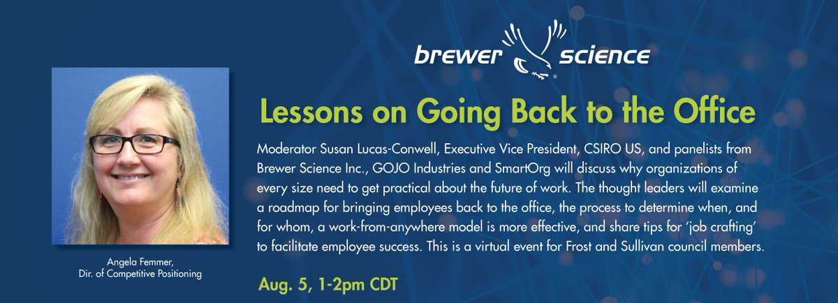 test Twitter Media - Brewer Science's Angela Femmer, Dir. of Competitive Positioning, will sit on a panel with other thought leaders for a fresh perspective on how to shift to a 'work from anywhere' model. @Frost_Sullivan council members can join the virtual event tomorrow, Aug. 5 from 1-2pm CDT. https://t.co/UCs0wryTEU