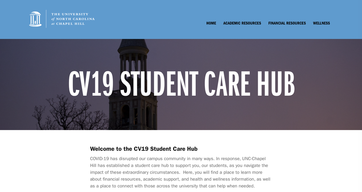 For new and returning #UNC students navigating challenges presented by the coronavirus, resources are available on the COVID-19 Student Care Hub. This website is filled with info related to everything from academics to financial aid to wellness: https://t.co/OSiPqDjdPl https://t….