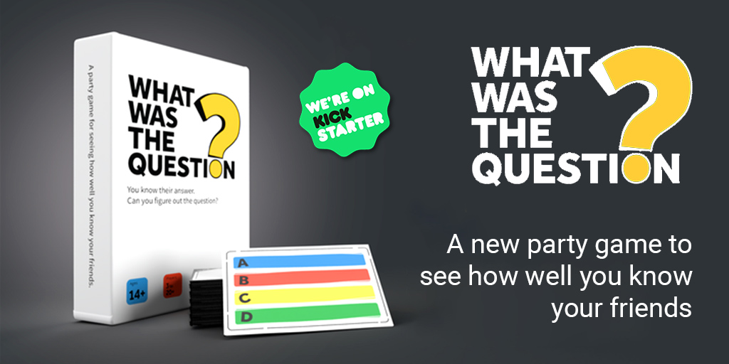 What Was the Question? https://t.co/QsP8uuiXqA  @gamenightNYC #Kickstarter #crowdfunding #crowdfund #game #gamer #tabletopgames #boardgames #cardgames  #cardgamer #cards #questioncards #cardscover #boardgamegeek #partygame #newgame #Multiplayer  #bestgame #familygame https://t.co/unGhvgPoMM