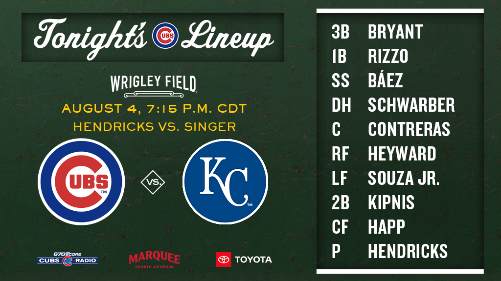 Here is tonight's #Cubs starting lineup!  #WhereStoriesPlay https://t.co/tSd1Hq9WWs