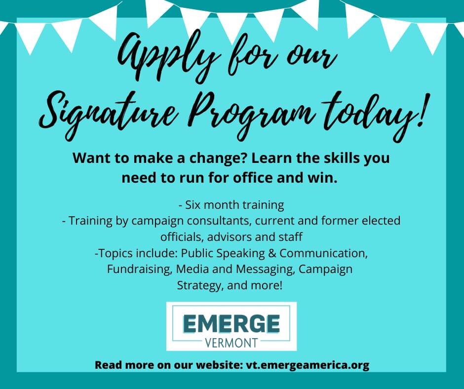 Applications for our Signature Program are open! Link: vt.emergeamerica.org/online-applica…