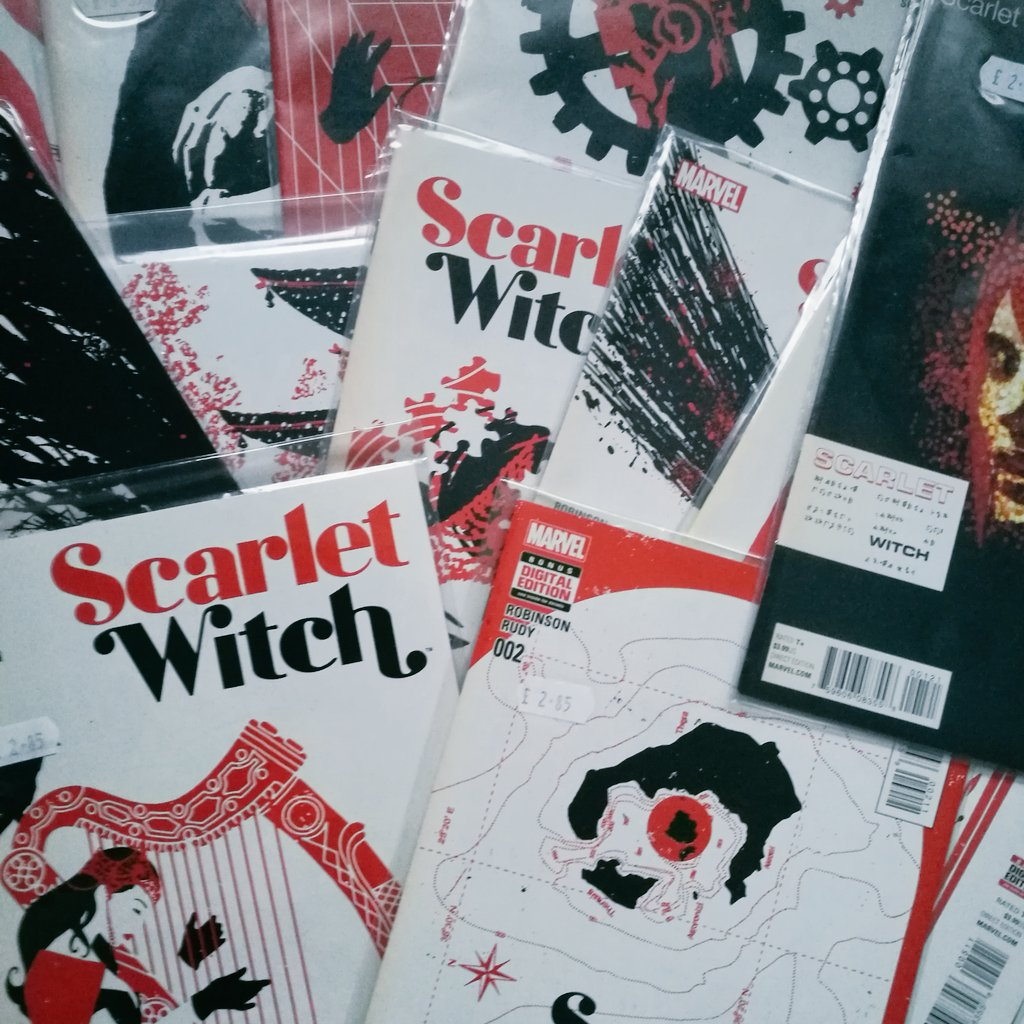 Day 3: Collection  I really like the Scarlet Witch comics but I'm missing two, but just look at that cover art work.   It's amazing! #scarlettwitch #geekaugust2020pic.twitter.com/J7PkrP8T2j