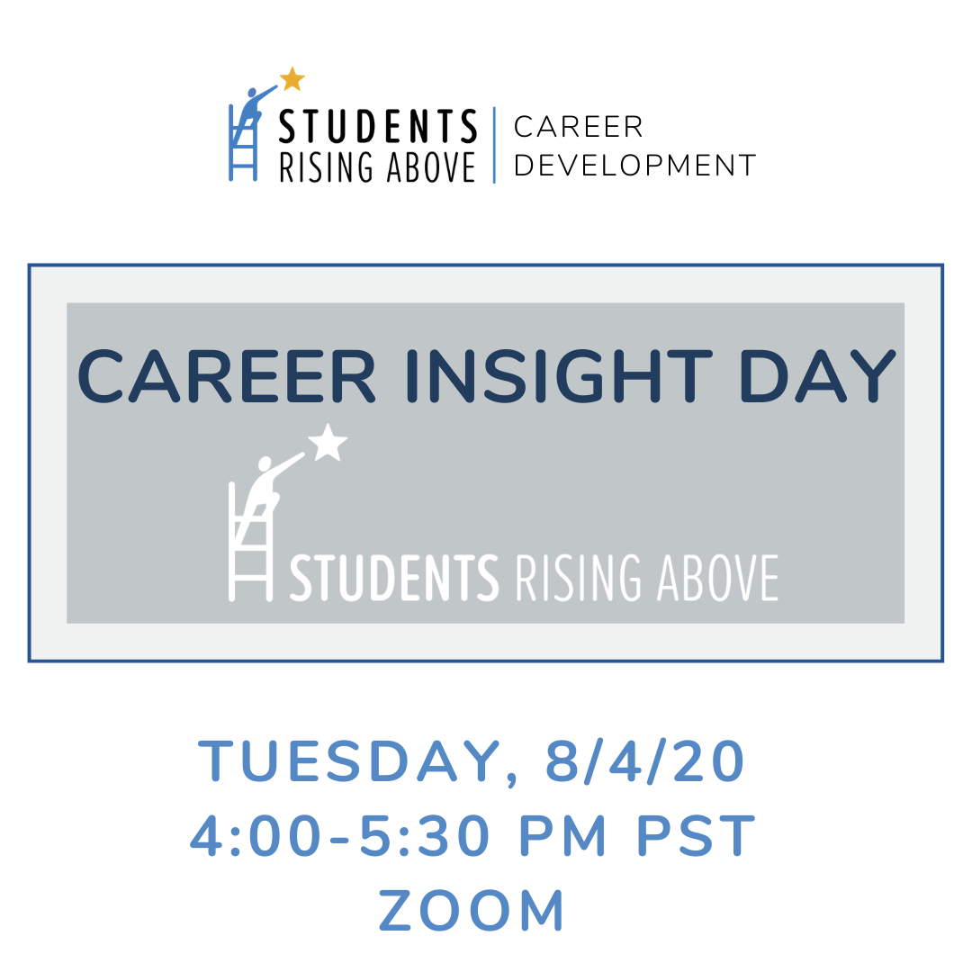 Today's Career Insight Day for our SRA Students is from 4:00-5:30 PM PST and gives students a look into the non-profit world, featuring us, Students Rising Above!   We're so excited to give our scholars an opportunity to learn more about the ins and outs of our organization! https://t.co/qhb51BezTV