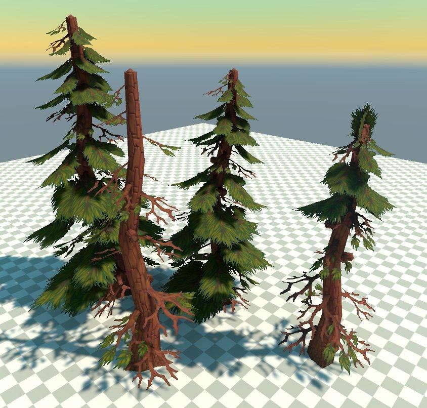 some pine tree variations  #environmentart #3dart #3dmodeling #gameart #gamedev #unity3d #maya #stylized #handpaintedpic.twitter.com/oHUbCC3Hrl