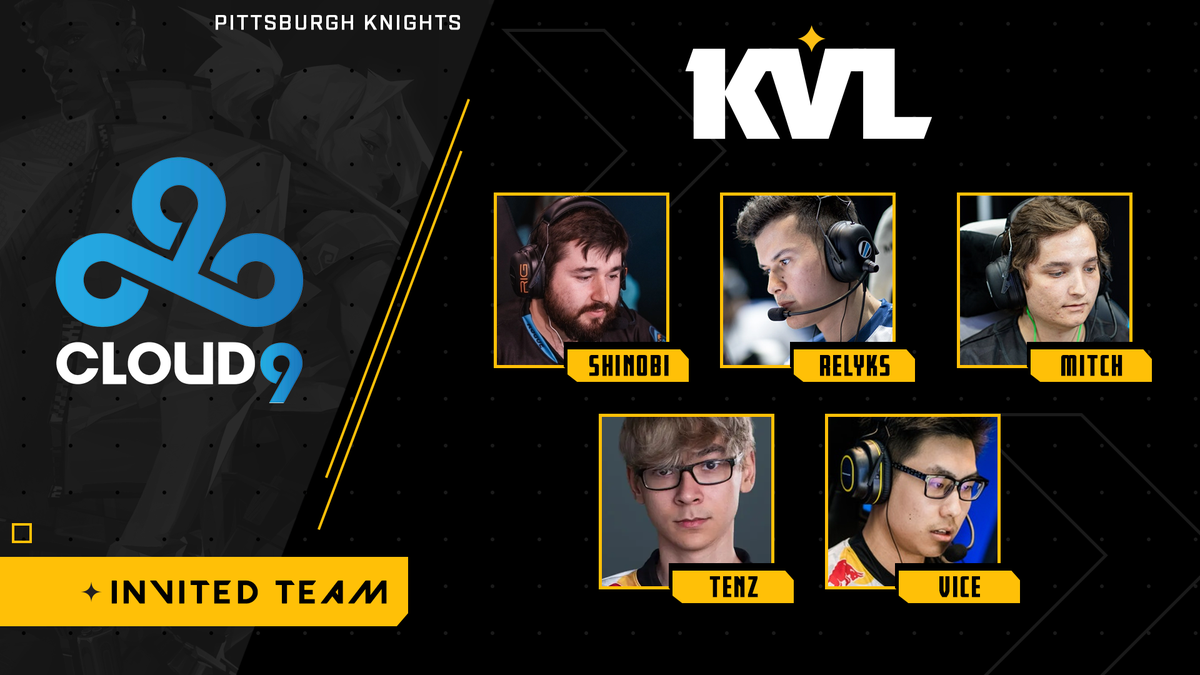 🚨Invited Team Announcement🚨 The next team invited to the #KnightsGauntlet tournament is... @Cloud9! ⚔️ @shinobi_fps ⚔️ @RelyksOG ⚔️ @mitchcsgo ⚔️ @TenZ_CS ⚔️ @vice_cs Stay tuned for more team invites! 👀 Want to play? Sign up here: pks.gg/gauntlet