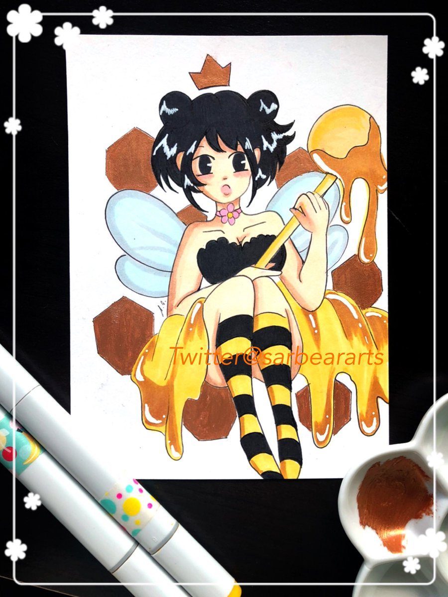 Fawngust day 4! Bee!  I used a couple of different mediums for this one! I used markers & gouache! This OC belongs to my BFF @OhHostileOne   #animeart #animedrawing #kawaiiart #kawaiidrawing #gouachepaint #gouachepaintingpic.twitter.com/J8aO4Jn0Ah