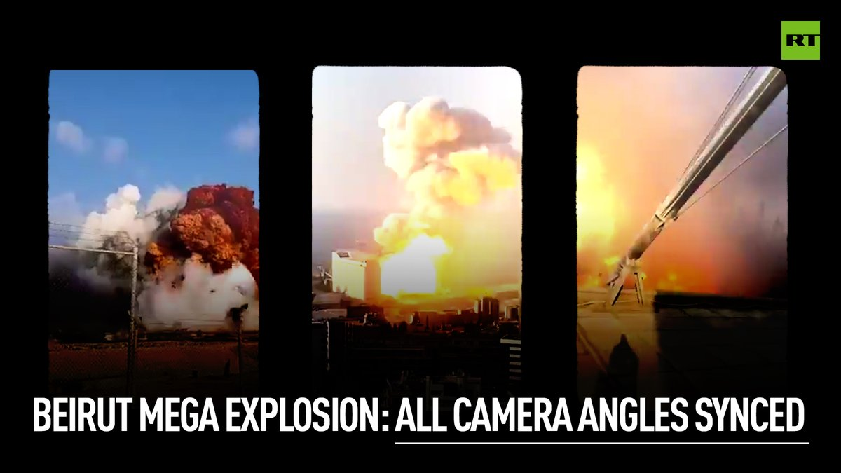 #BeirutExplosion | 15 camera angles synced