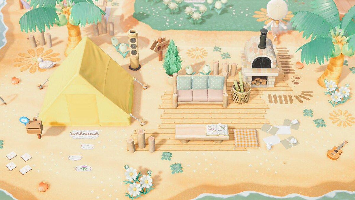 砂浜にテントを設置しました💡⋆#あつまれどうぶつの森 #どうぶつの森 #animalcrossingnewhorizons #acnh