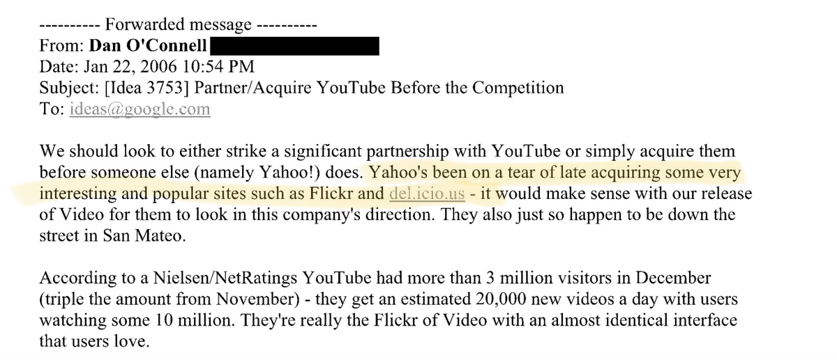 Context: the US congress committee was clearly trying to position Google buying Youtube as anti-competitive. So...