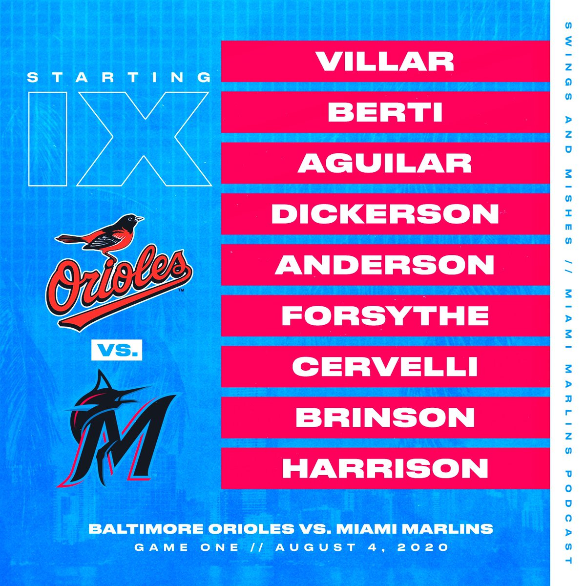🗣 MARLINS BASEBALL IS BACK • Game 4 of 60 • Marlins debut for Logan Forsythe, season debut for Lewis Brinson, and MLB debut (!!!) for Monte Harrison • The starting 9 behind starting pitcher Pablo López 💫 https://t.co/boS8zhI9i4