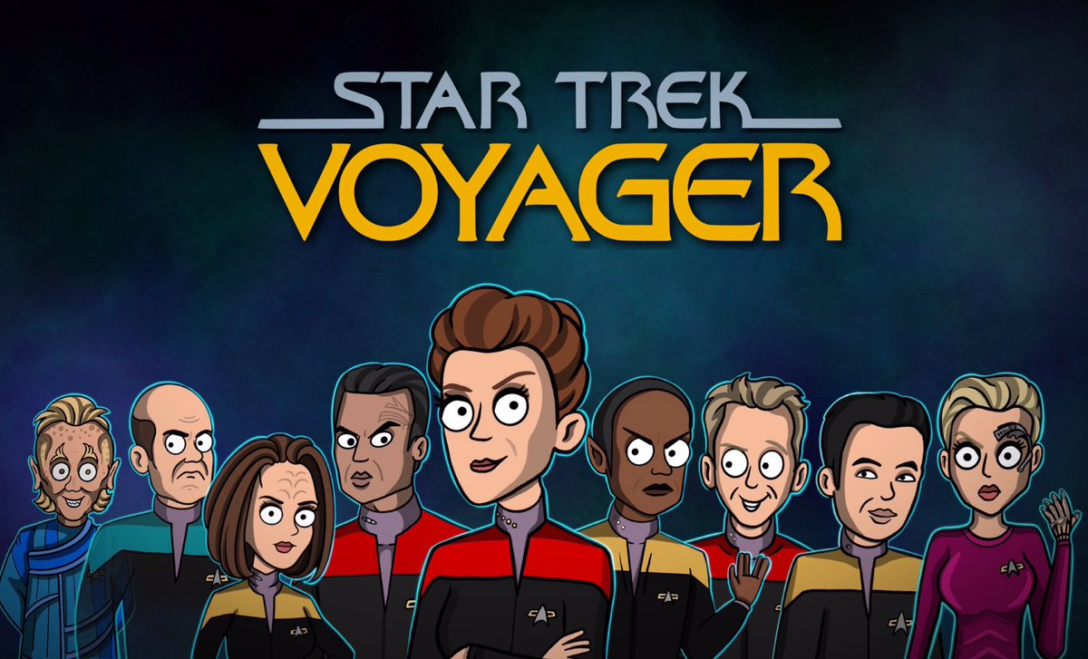 Here's the USS Voyager crew inspired by the 'Lower Decks' animation style. Let's hope at least some of these characters show up on the new series 🖖🏼 @StarTrek @TrekCore @TheKateMulgrew @robertbeltran74 @roxdaws @JeriLRyan @GarrettRWang @robertdmcneill @RobertPicardo @timruss2