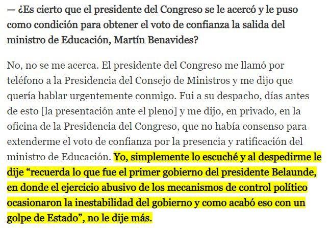 Esta declaración de Cateriano a @Politica_ECpe recordando el golpe militar al gobierno de Belaúnde, lo pinta como un falso demócrata,que amenaza el estado de derecho cuando no consigue sus objetivos.#CuestiónDeConfianza https://t.co/1XDTIRTy9X