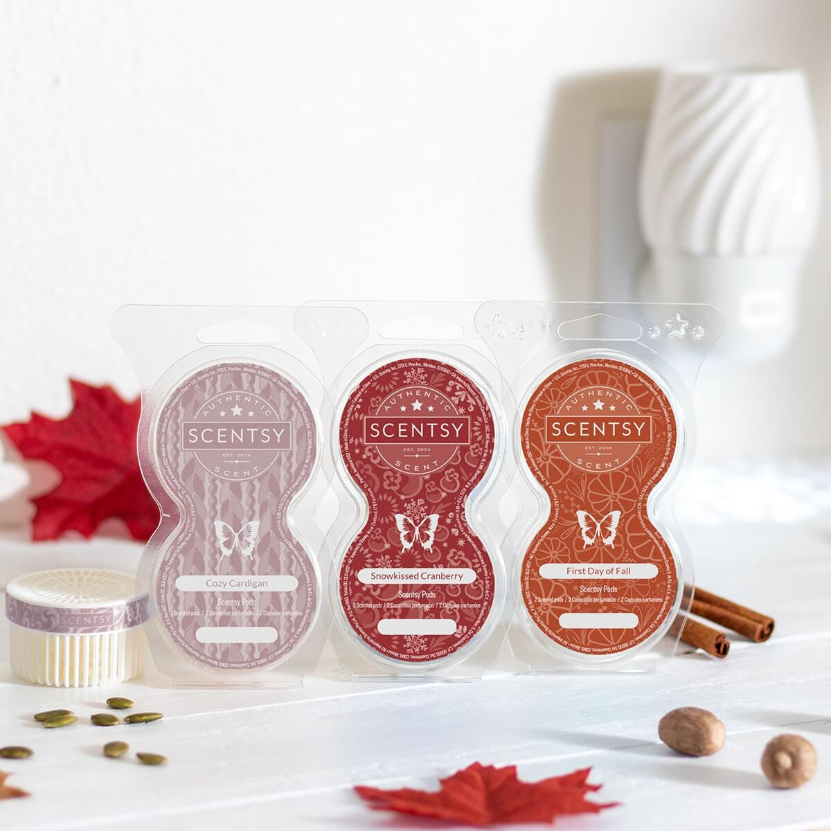 Our three newest Scentsy Pods -- For use in the Scentsy Go, Wall Fan Diffusers, or Mini Fan Diffuser  Cozy Cardigan, Snowkissed Cranberry, and First Day of Fall.   More Info:  https://soo.nr/AMsb   #InstantFragrance #Scentsy #Fall #Cozy #SweaterWeather #AutumnMood pic.twitter.com/FpzC5K5aP3