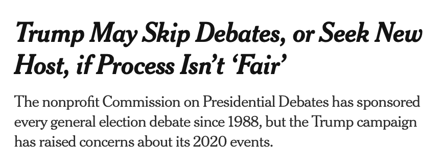 Reminder: Only one campaign has actually suggested they might not participate in the debates. https://t.co/iF3Y7DVI4G https://t.co/s3CqO266Cs